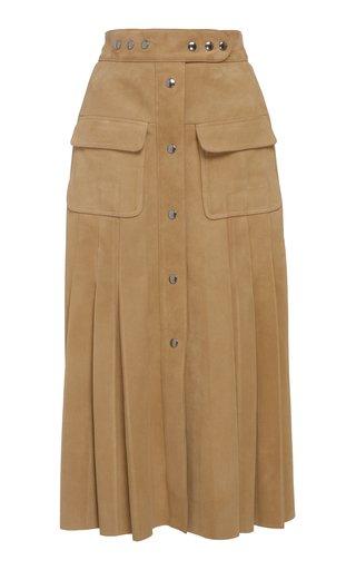 Pleated Suede Midi Skirt