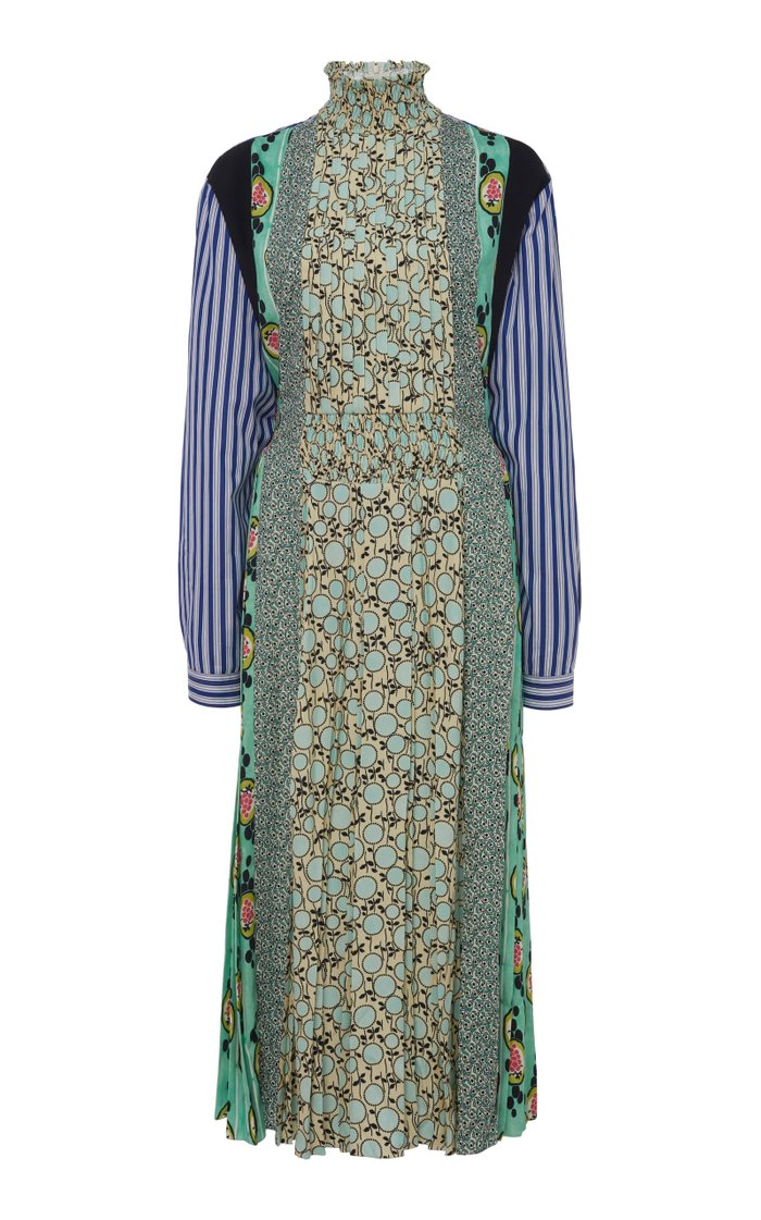 Patchwork Smocked Crepe Midi Dress