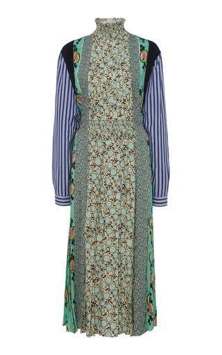 Patchwork Smocked Crepe Midi Dress