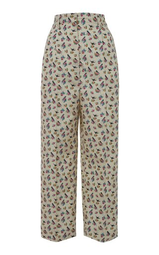 Cropped Floral-Print Silk Tapered Pants
