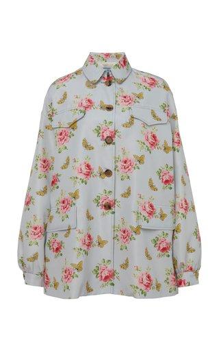 Floral Printed Silk Jacket
