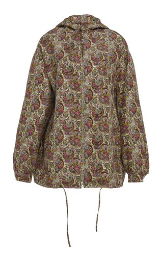 Printed Hooded Silk Jacket