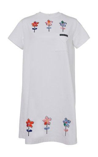 Embroidered Cotton Mini T-Shirt Dress