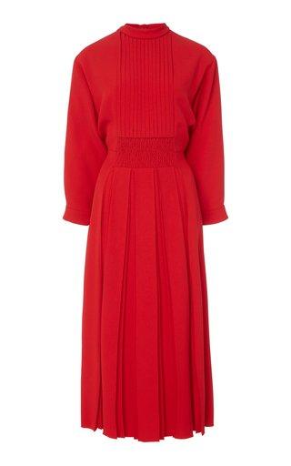 Pleated Crepe Midi Dress