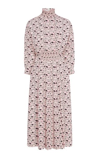 Smocked Printed Crepe Midi Dress