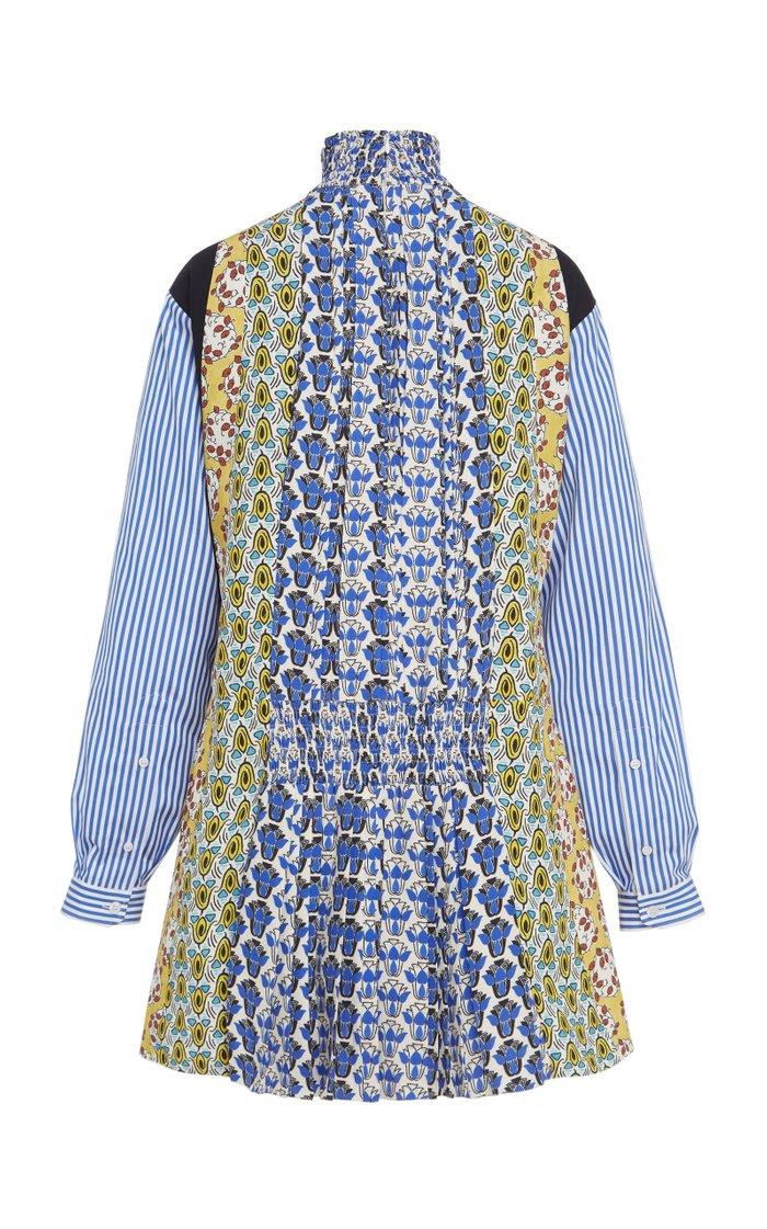 Smocked Printed Crepe Mini Dress