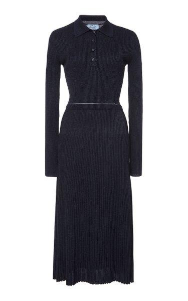 Wool-Blend Lurex Midi Dress