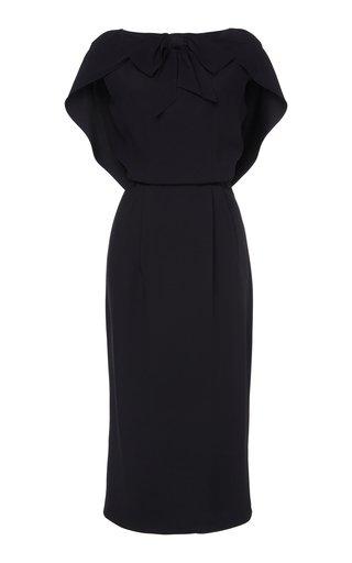Cape-Effect Crepe Midi Dress