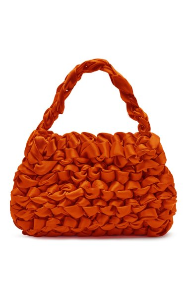 Theodore Knotted Satin Top Handle Bag
