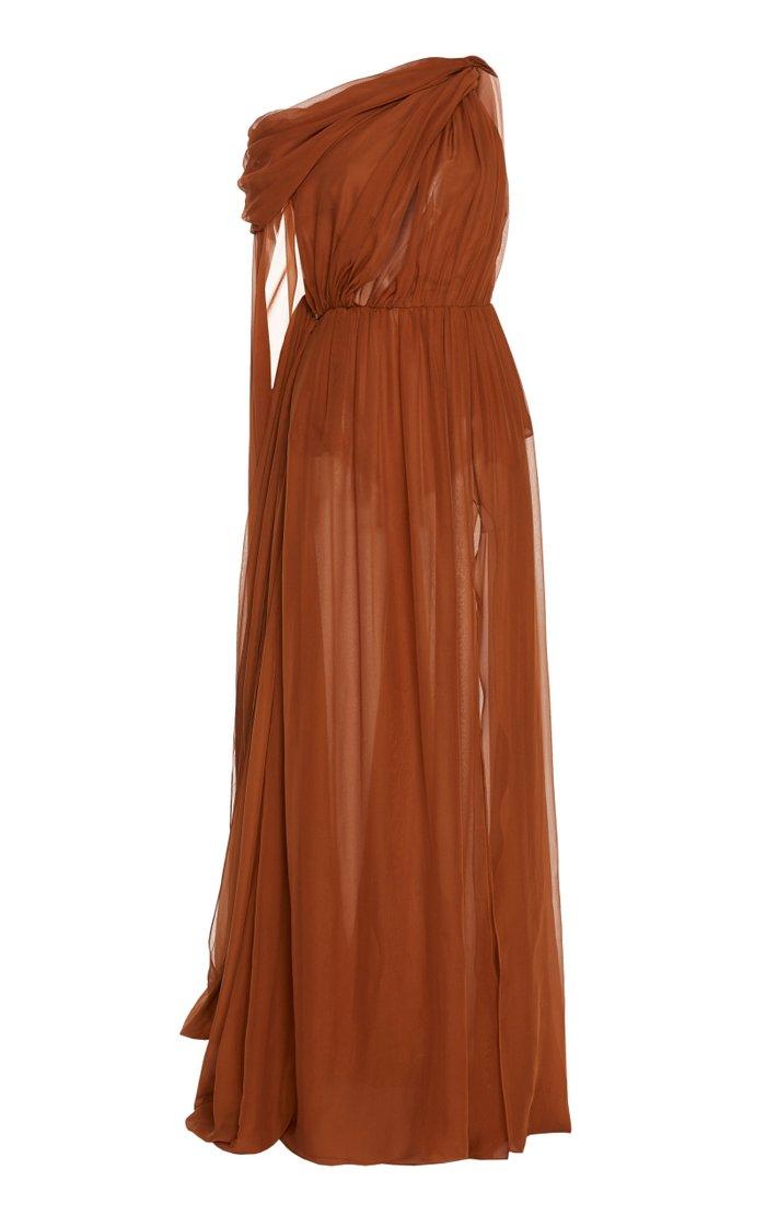 Draped One-Shoulder Chiffon Maxi Dress