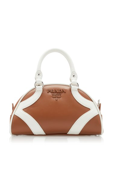 Two-Tone Leather Top Handle Bag
