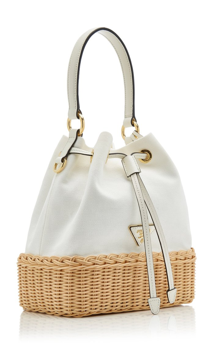 Wicker and Canvas Bucket Bag