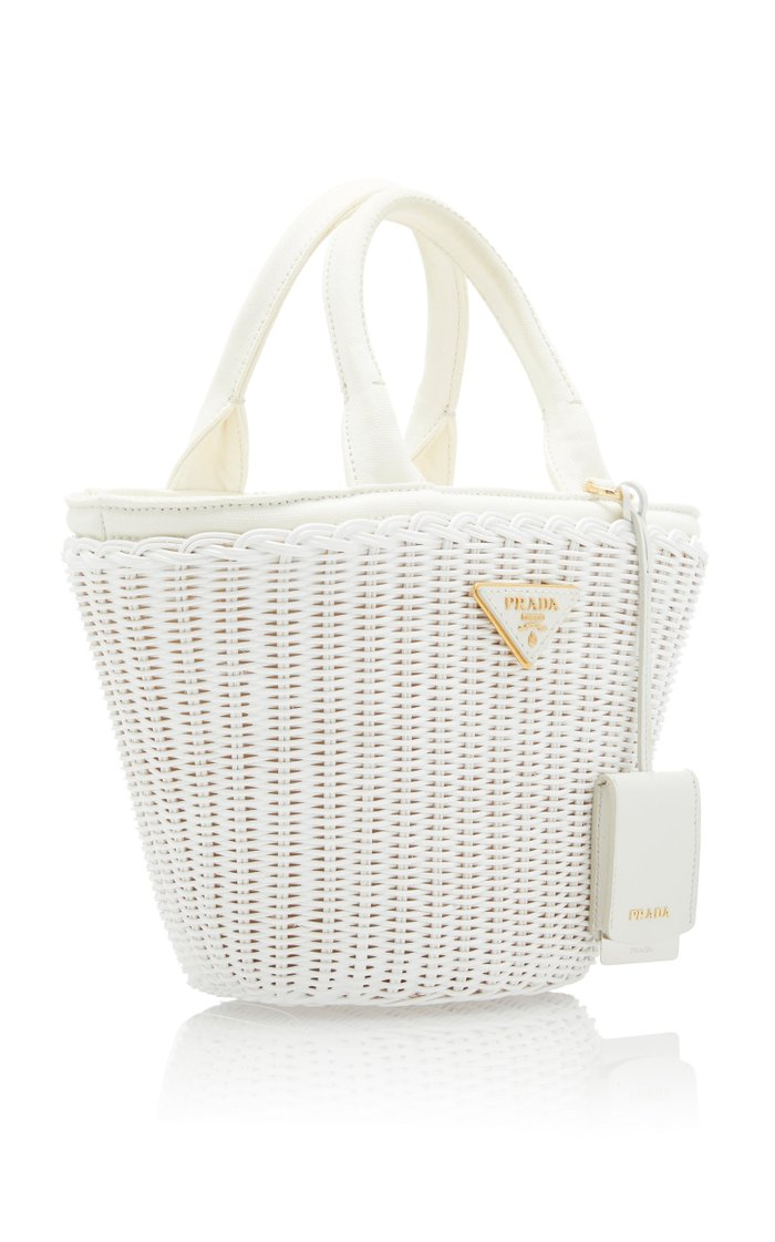 Small Leather-Trimmed Raffia Basket Bag