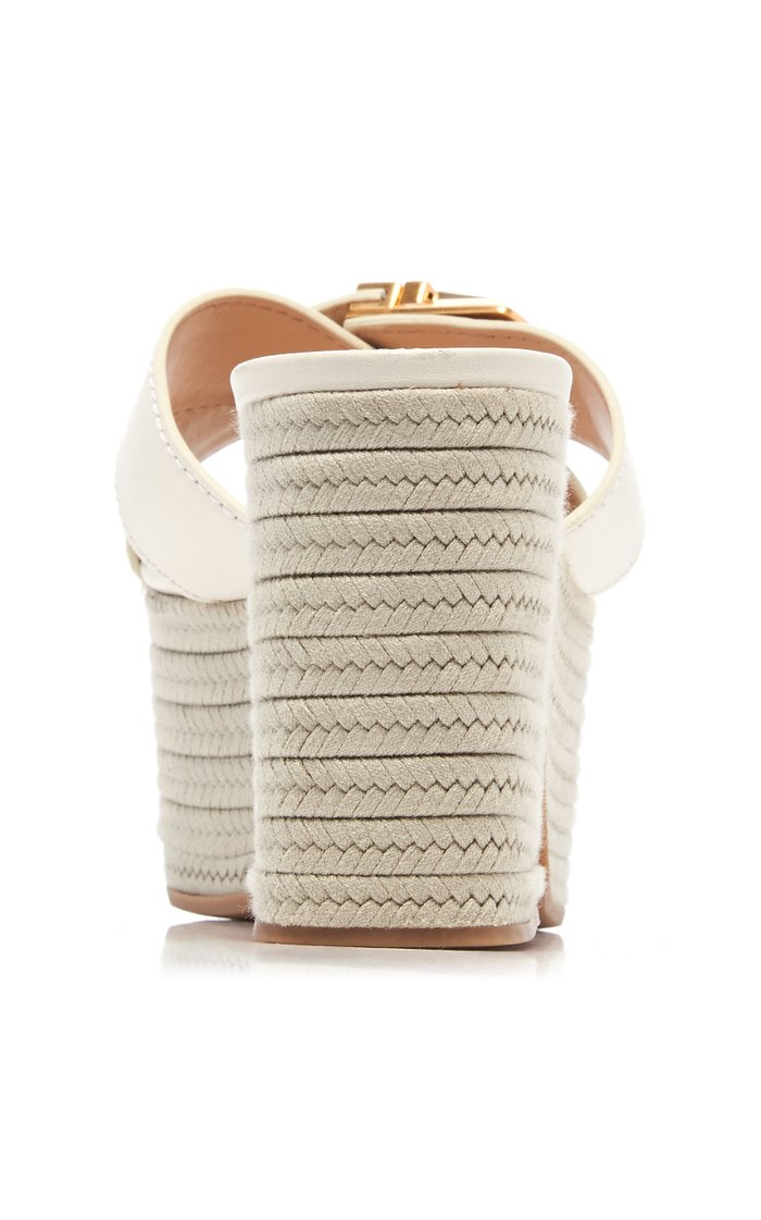 Leather Espadrille Platform Sandals