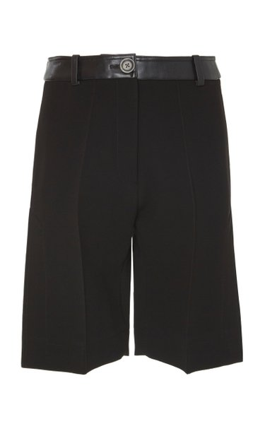 Leather-Trimmed Crepe Bermuda Shorts