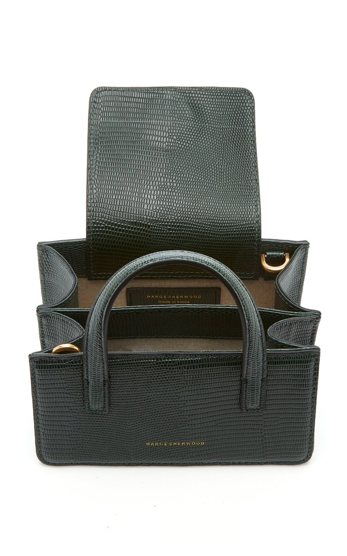 Mini Square Lizard-Effect Leather Top-Handle Bag