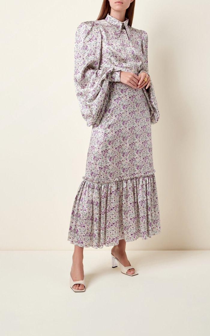 Frill Floral-Print Satin Midi Skirt