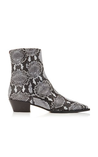 Ruby Snake-Effect Leather Ankle Boots