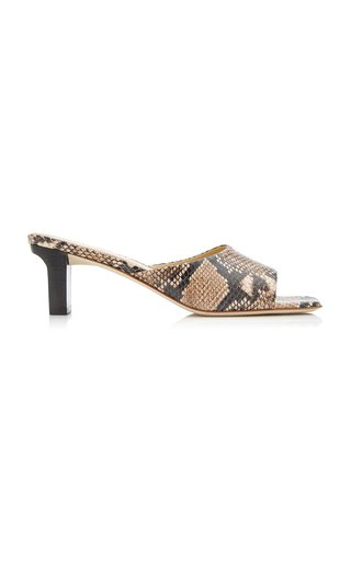 Katti Snake-Effect Leather Sandals