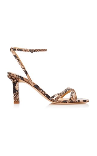 Annabella Snake-Effect Leather Sandals