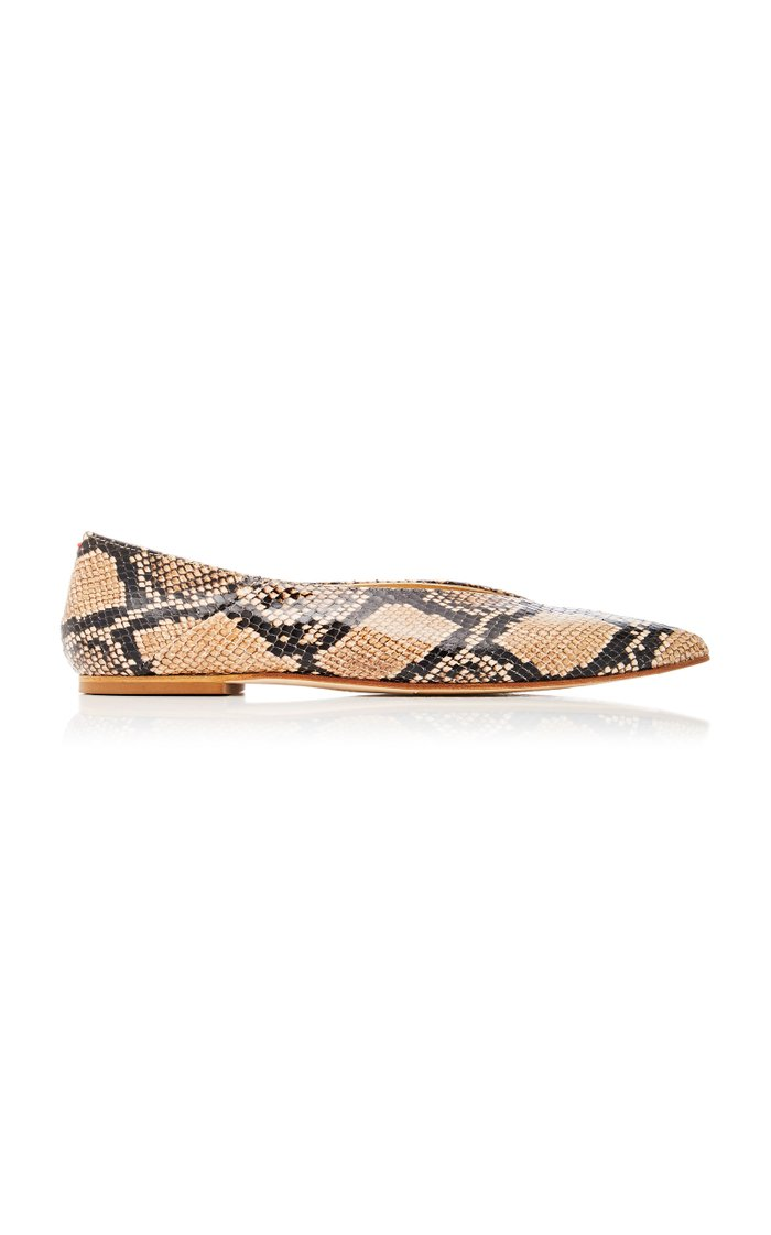 Moa Snake-Effect Leather Flats