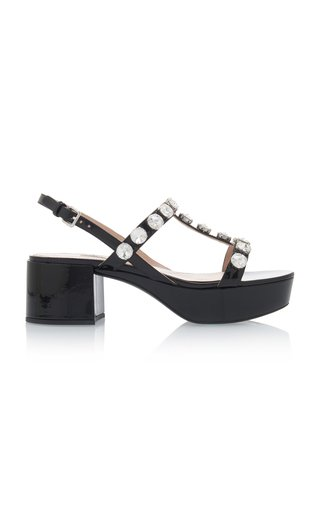 Embellished Patent Leather Platform Sandals