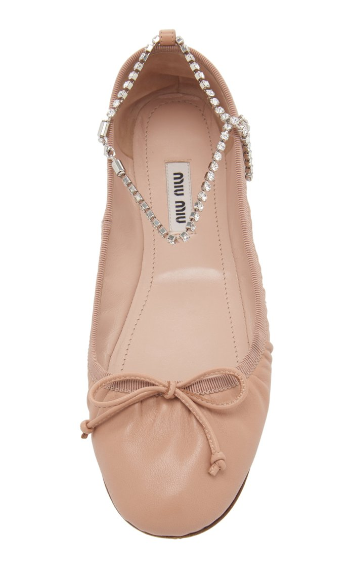 Crystal-Inset Leather Ballet Flats