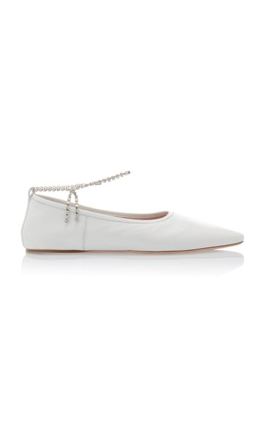 Crystal-Strap Leather Ballet Flats