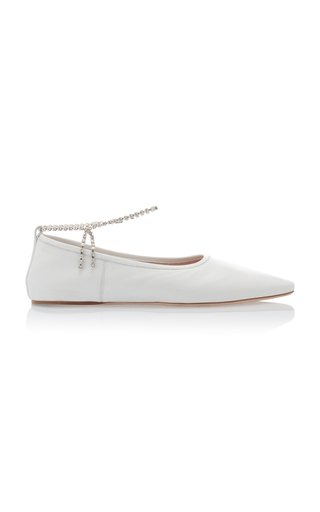 Crystal Ankle Strap Pointed Toe Flats