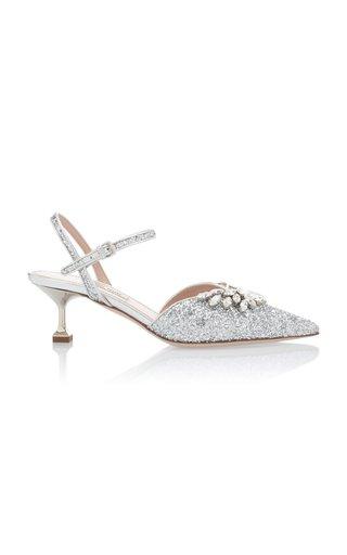 Embellished Glitter Kitten Heels