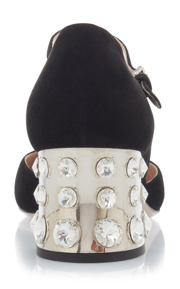 Embellished Suede Mary Jane Pumps