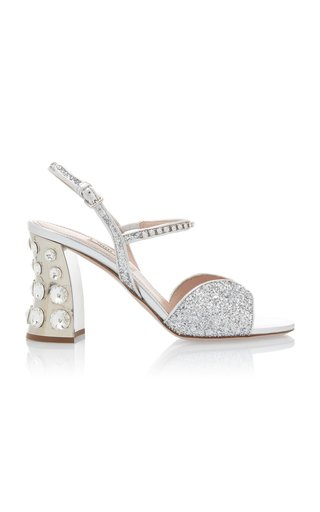 Embellished Glitter Block-Heel Sandals