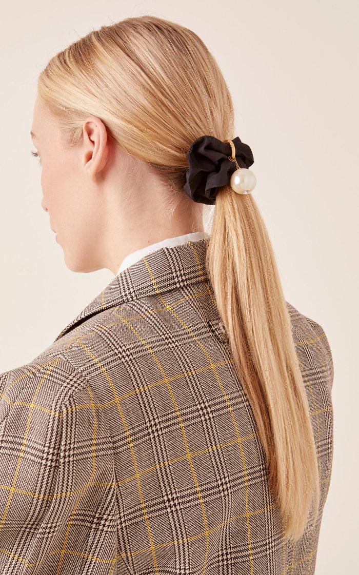 Faux Pearl-Embellished Scrunchie