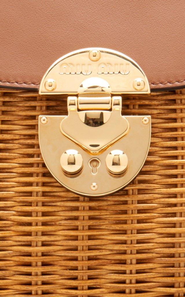 Large Midollino Leather-Paneled Rattan Basket Bag