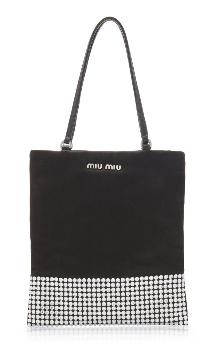 Raso-Embellished Satin Mini Top Handle Bag