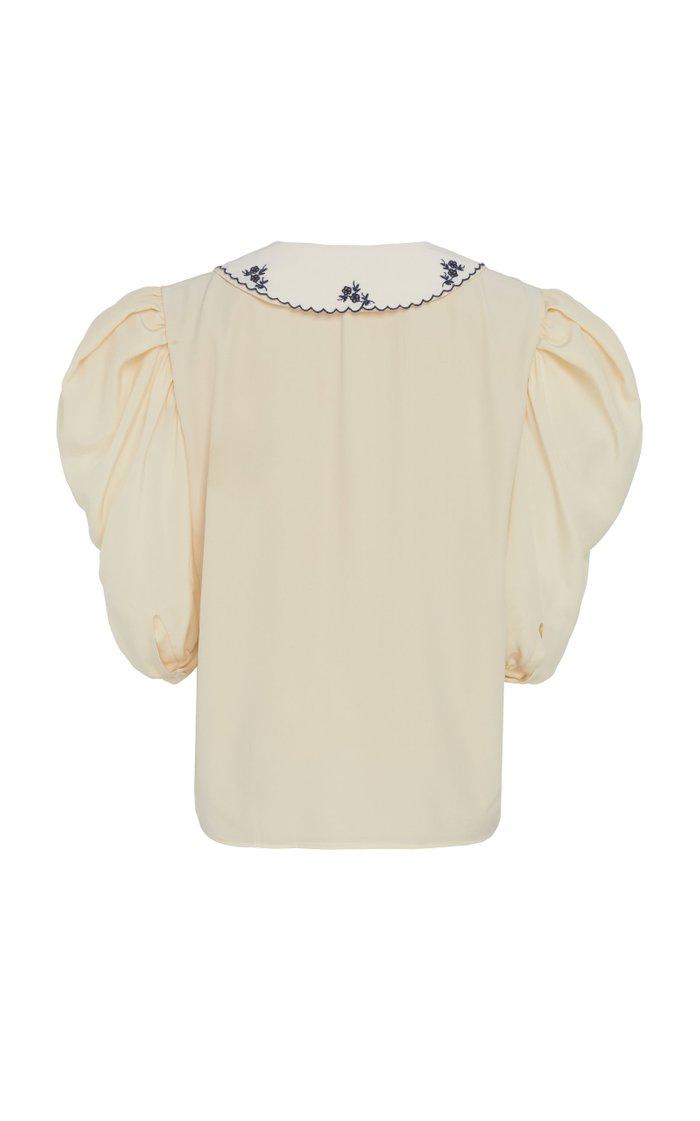 Collared V-Neck Silk Top