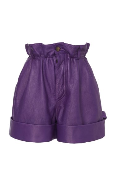 Pleated Leather Shorts