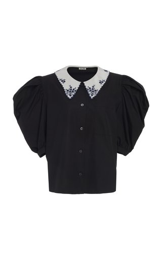 Embroidered Collar Button Down Top