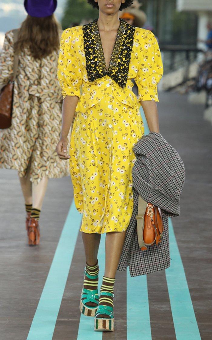 Printed Peplum Midi Dress