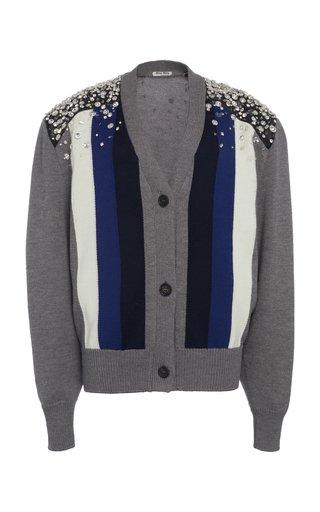 Embellished Striped Wool Cardigan