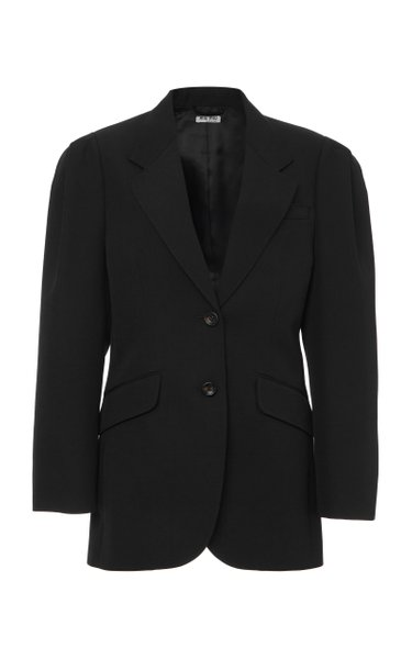 Puff-Sleeve Wool Blazer