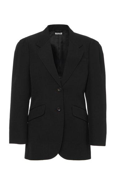 Puff-Sleeve Wool Blazer