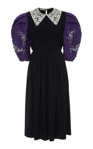 Collared Puff Sleeve Midi Dress