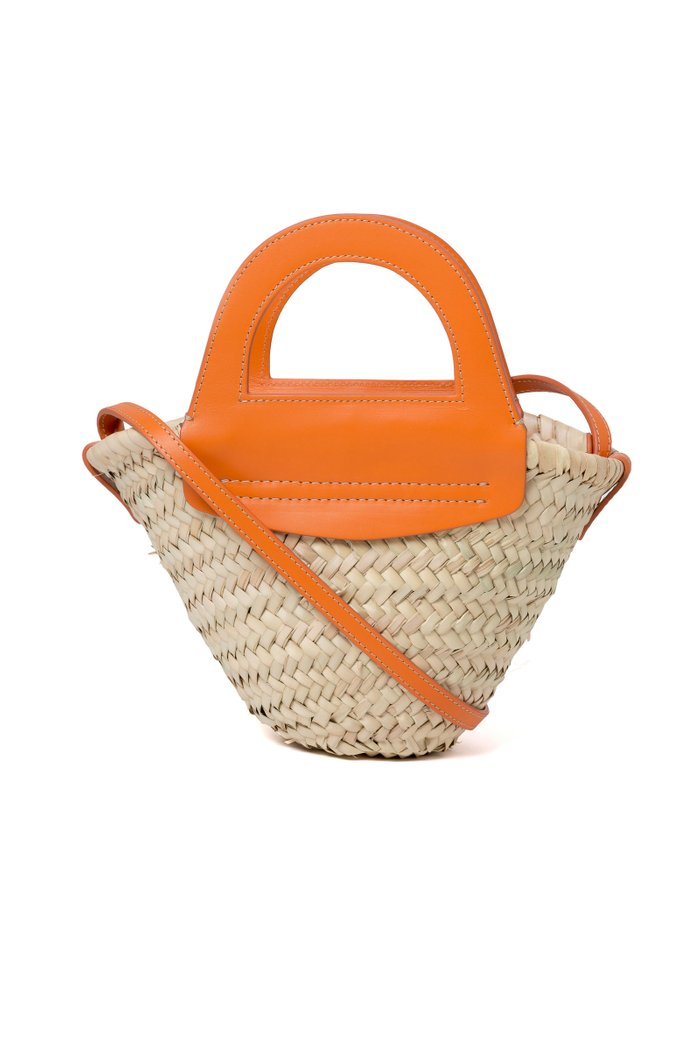 Cabas Mini Leather-Trimmed Straw Tote