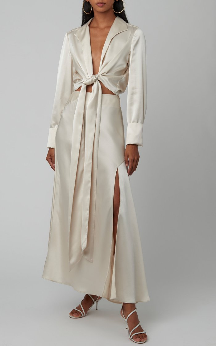 Lucine Assymetric Satin Maxi Skirt