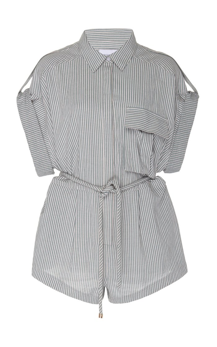Hartley Belted Striped Crepe Playsuit