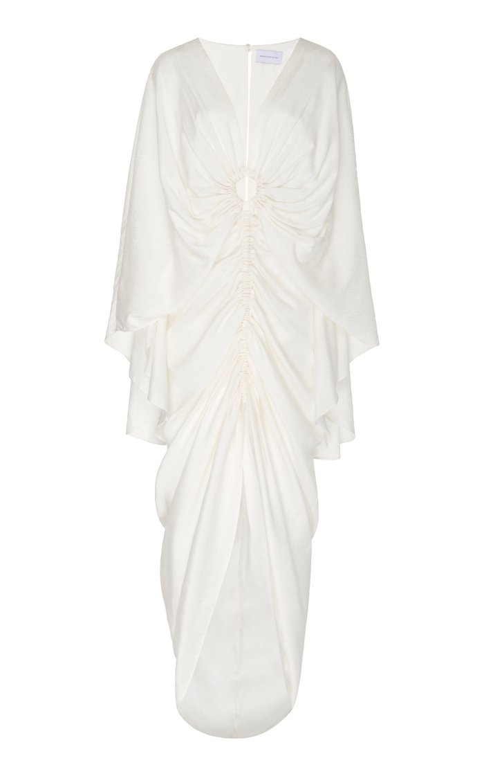 Hamilton Ruched Cutout Cupro Midi Dress