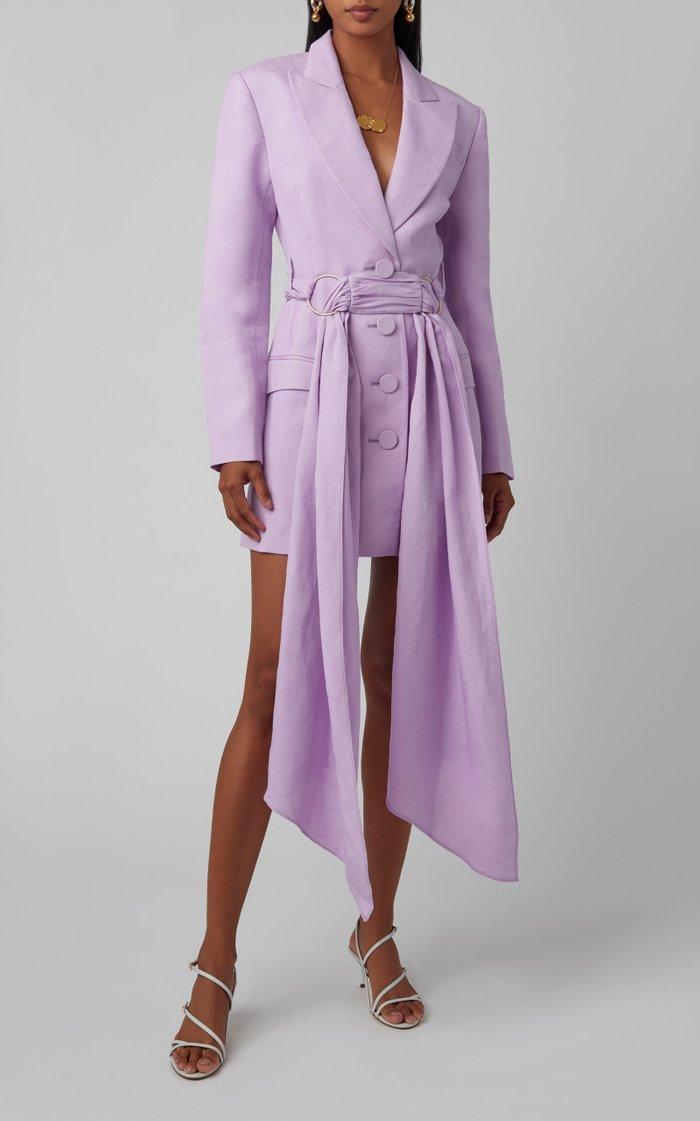 Dahlia Linen-Blend Blazer Dress