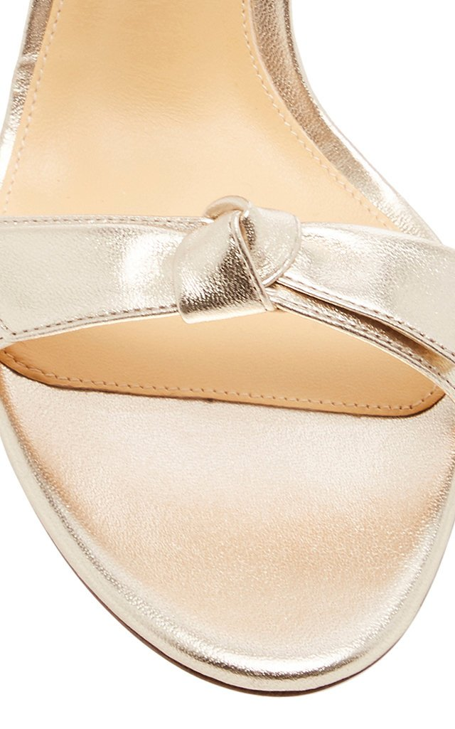Clarity Tie-Detailed Metallic Leather Sandals