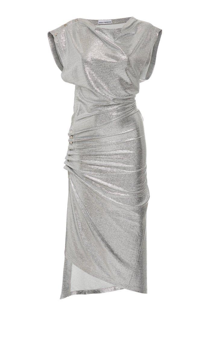Draped Metallic Midi Dress